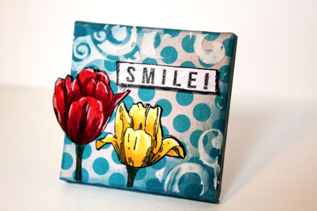 Mini Canvas with red and yellow tulips and the sentiment, Smile.
